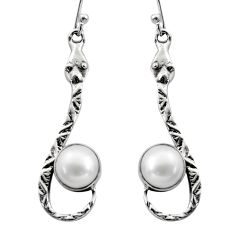 5.63cts natural white pearl 925 sterling silver snake earrings jewelry r15863