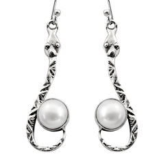 5.63cts natural white pearl 925 sterling silver snake earrings jewelry r15865