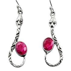4.47cts natural red ruby 925 sterling silver snake earrings jewelry r15866