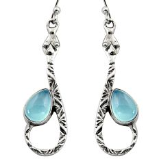 925 sterling silver 5.16cts natural aqua chalcedony snake earrings r15868