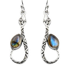 4.92cts natural blue labradorite 925 sterling silver snake earrings r15869