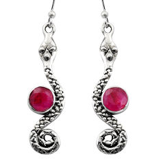 925 sterling silver 3.50cts natural red ruby snake earrings jewelry r15871