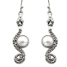 5.63cts natural white pearl 925 sterling silver snake earrings jewelry r15872