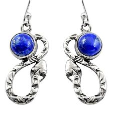 5.11cts natural blue lapis lazuli 925 sterling silver snake earrings r15873