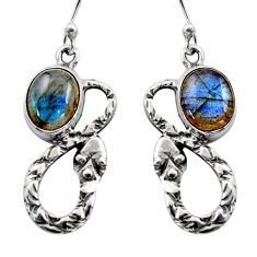 925 sterling silver 6.36cts natural blue labradorite snake earrings r15874
