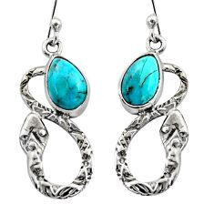 4.68cts natural blue campitos turquoise 925 silver snake earrings r15876