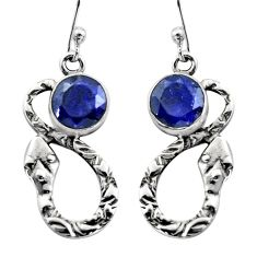 925 sterling silver 5.11cts natural blue sapphire snake earrings jewelry r15877