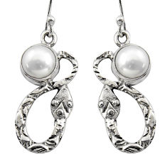 5.36cts natural white pearl 925 sterling silver snake earrings jewelry r15878