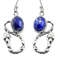 5.87cts natural blue lapis lazuli 925 sterling silver snake earrings r15879