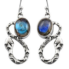 925 sterling silver 6.36cts natural blue labradorite snake earrings r15880
