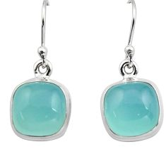 925 sterling silver 10.02cts natural aqua chalcedony dangle earrings r15883