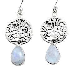 925 silver 4.84cts natural rainbow moonstone tree of life earrings r15886