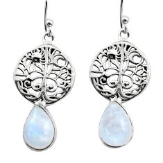 5.16cts natural rainbow moonstone 925 silver tree of life earrings r15887