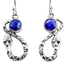 3.11cts natural blue sapphire 925 sterling silver dangle earrings jewelry r15888