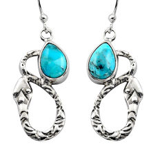 925 silver 4.42cts natural blue campitos turquoise dangle earrings r15889