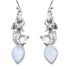 5.18cts natural rainbow moonstone 925 silver fairy mermaid earrings r15890