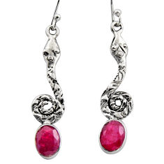 4.47cts natural red ruby 925 sterling silver snake earrings jewelry r15891