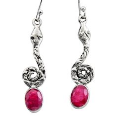 925 sterling silver 4.46cts natural red ruby snake earrings jewelry r15892