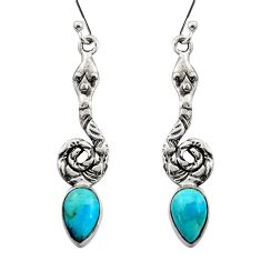 4.69cts natural blue campitos turquoise 925 silver snake earrings r15893