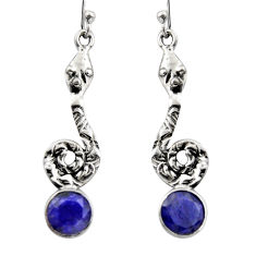 4.70cts natural blue sapphire 925 sterling silver snake earrings jewelry r15894