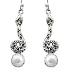 5.38cts natural white pearl 925 sterling silver snake earrings jewelry r15895
