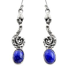925 sterling silver 6.04cts natural blue lapis lazuli snake earrings r15896