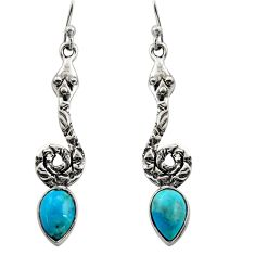 4.42cts natural blue campitos turquoise 925 silver snake earrings r15897
