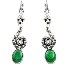 4.47cts natural green emerald 925 sterling silver snake earrings jewelry r15898