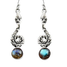 925 sterling silver 5.10cts natural blue labradorite snake earrings r15899