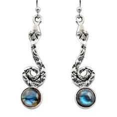 5.11cts natural blue labradorite 925 sterling silver snake earrings r15900