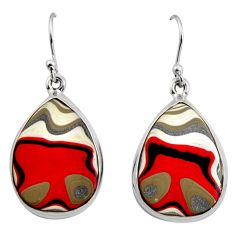 925 sterling silver 15.65cts fordite detroit agate dangle earrings r15913