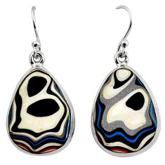 14.23cts fordite detroit agate 925 sterling silver dangle earrings r15916
