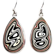 16.73cts fordite detroit agate 925 sterling silver dangle earrings r15923