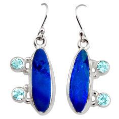 8.96cts natural blue doublet opal australian 925 silver dangle earrings r15925