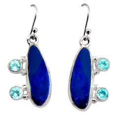 8.70cts natural blue doublet opal australian 925 silver dangle earrings r15927