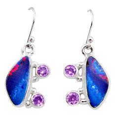 7.40cts natural blue doublet opal australian 925 silver dangle earrings r15933
