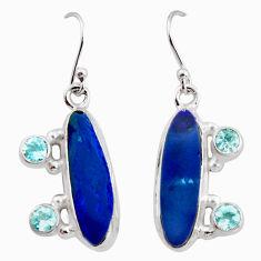 8.70cts natural blue doublet opal australian 925 silver dangle earrings r15934