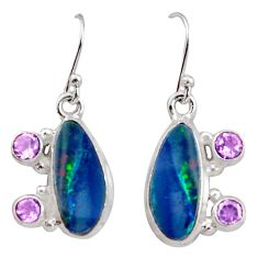 7.66cts natural blue doublet opal australian 925 silver dangle earrings r15937