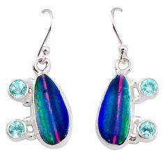 7.84cts natural blue doublet opal australian 925 silver dangle earrings r15940