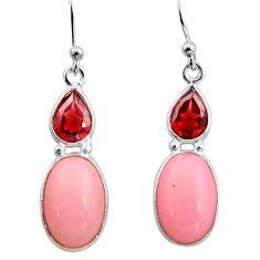 7.95cts natural pink opal garnet 925 sterling silver dangle earrings r15945