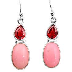 7.39cts natural pink opal garnet 925 sterling silver dangle earrings r15947