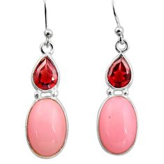 925 sterling silver 7.36cts natural pink opal red garnet dangle earrings r15950