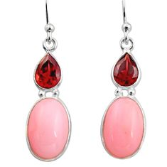 925 sterling silver 7.53cts natural pink opal red garnet dangle earrings r15957