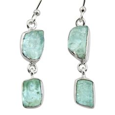 12.06cts natural aqua aquamarine rough 925 silver dangle earrings r16841