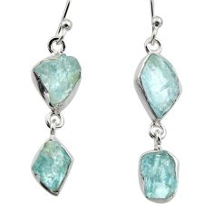 10.76cts natural aqua aquamarine rough 925 silver dangle earrings r16842