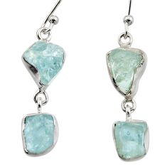 11.53cts natural aqua aquamarine rough 925 silver dangle earrings r16843