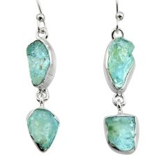 925 silver 12.96cts natural aqua aquamarine rough dangle earrings r16844
