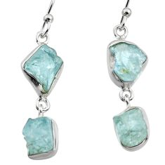 12.03cts natural aqua aquamarine rough 925 silver dangle earrings r16845