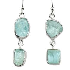 13.27cts natural aqua aquamarine rough 925 silver dangle earrings jewelry r16846