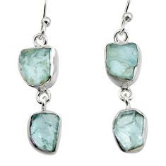 10.76cts natural aqua aquamarine rough 925 silver dangle earrings r16847